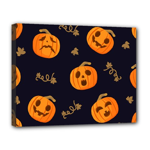 Funny Scary Black Orange Halloween Pumpkins Pattern Canvas 14  X 11  (stretched) by HalloweenParty