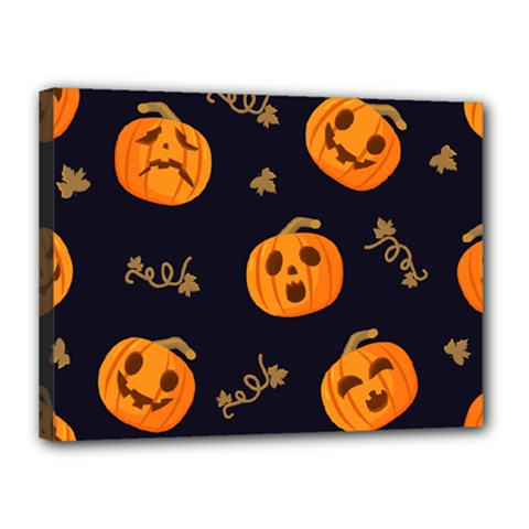 Funny Scary Black Orange Halloween Pumpkins Pattern Canvas 16  X 12  (stretched)