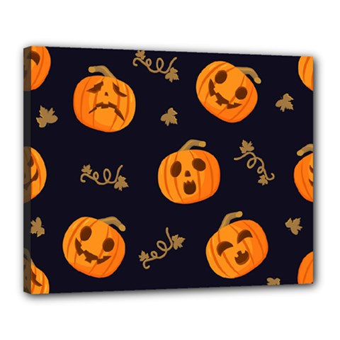 Funny Scary Black Orange Halloween Pumpkins Pattern Canvas 20  X 16  (stretched)