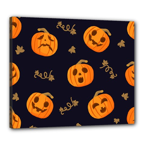 Funny Scary Black Orange Halloween Pumpkins Pattern Canvas 24  X 20  (stretched)