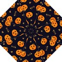 Funny Scary Black Orange Halloween Pumpkins Pattern Straight Umbrellas View1