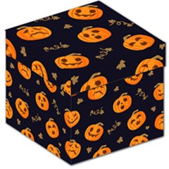Funny Scary Black Orange Halloween Pumpkins Pattern Storage Stool 12