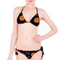 Funny Scary Black Orange Halloween Pumpkins Pattern Classic Bikini Set