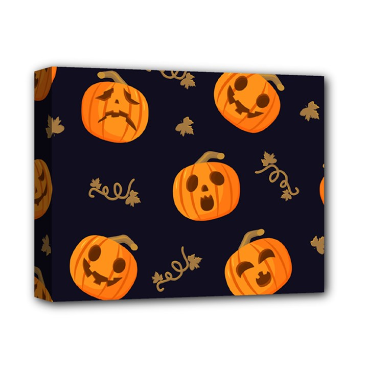 Funny Scary Black Orange Halloween Pumpkins Pattern Deluxe Canvas 14  x 11  (Stretched)