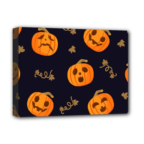 Funny Scary Black Orange Halloween Pumpkins Pattern Deluxe Canvas 16  X 12  (stretched)