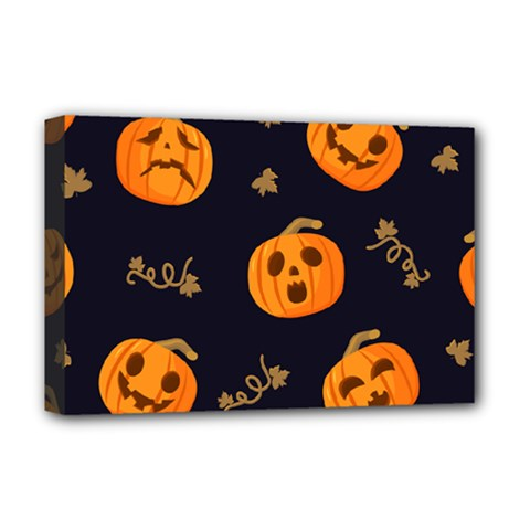 Funny Scary Black Orange Halloween Pumpkins Pattern Deluxe Canvas 18  X 12  (stretched)