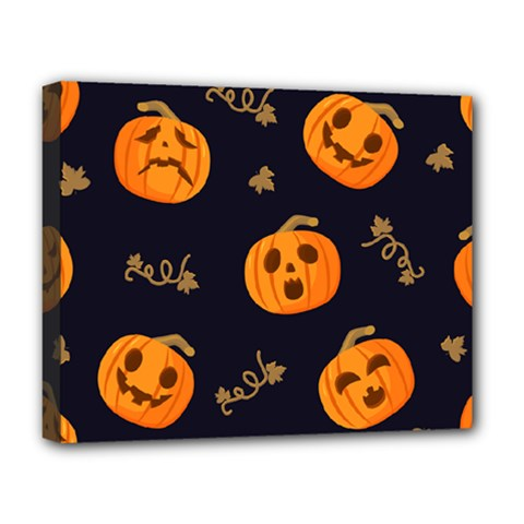 Funny Scary Black Orange Halloween Pumpkins Pattern Deluxe Canvas 20  X 16  (stretched)