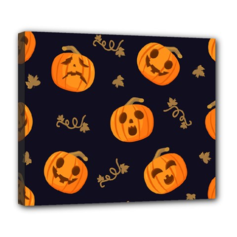 Funny Scary Black Orange Halloween Pumpkins Pattern Deluxe Canvas 24  X 20  (stretched)