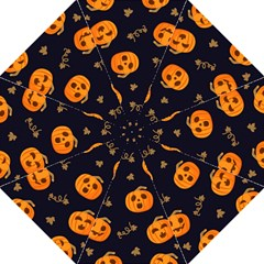 Funny Scary Black Orange Halloween Pumpkins Pattern Hook Handle Umbrellas (medium)