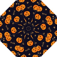 Funny Scary Black Orange Halloween Pumpkins Pattern Hook Handle Umbrellas (small) by HalloweenParty