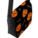 Funny Scary Black Orange Halloween Pumpkins Pattern Flap Closure Messenger Bag (L) View2