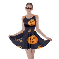 Funny Scary Black Orange Halloween Pumpkins Pattern Skater Dress