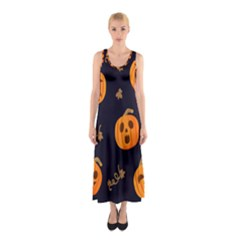Funny Scary Black Orange Halloween Pumpkins Pattern Sleeveless Maxi Dress