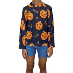 Funny Scary Black Orange Halloween Pumpkins Pattern Kids  Long Sleeve Swimwear