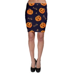 Funny Scary Black Orange Halloween Pumpkins Pattern Bodycon Skirt