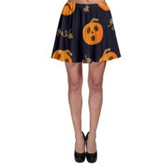 Funny Scary Black Orange Halloween Pumpkins Pattern Skater Skirt