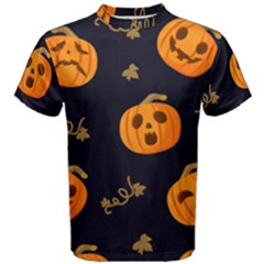 Funny Scary Black Orange Halloween Pumpkins Pattern Men s Cotton Tee
