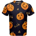 Funny Scary Black Orange Halloween Pumpkins Pattern Men s Cotton Tee View1