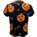 Funny Scary Black Orange Halloween Pumpkins Pattern Men s Cotton Tee View2
