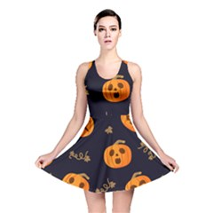 Funny Scary Black Orange Halloween Pumpkins Pattern Reversible Skater Dress