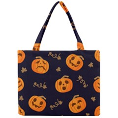 Funny Scary Black Orange Halloween Pumpkins Pattern Mini Tote Bag