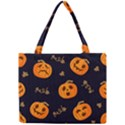 Funny Scary Black Orange Halloween Pumpkins Pattern Mini Tote Bag View1