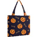 Funny Scary Black Orange Halloween Pumpkins Pattern Mini Tote Bag View2