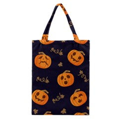 Funny Scary Black Orange Halloween Pumpkins Pattern Classic Tote Bag