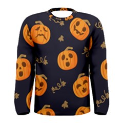 Funny Scary Black Orange Halloween Pumpkins Pattern Men s Long Sleeve Tee