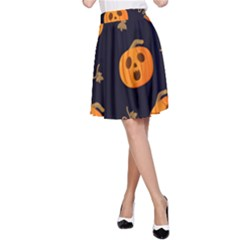 Funny Scary Black Orange Halloween Pumpkins Pattern A Line Skirt