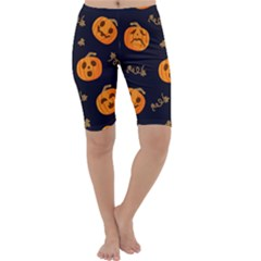 Funny Scary Black Orange Halloween Pumpkins Pattern Cropped Leggings
