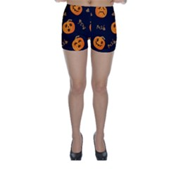 Funny Scary Black Orange Halloween Pumpkins Pattern Skinny Shorts