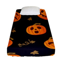 Funny Scary Black Orange Halloween Pumpkins Pattern Fitted Sheet (single Size)