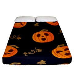 Funny Scary Black Orange Halloween Pumpkins Pattern Fitted Sheet (queen Size)