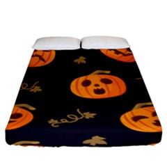 Funny Scary Black Orange Halloween Pumpkins Pattern Fitted Sheet (king Size)