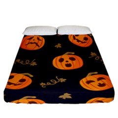 Funny Scary Black Orange Halloween Pumpkins Pattern Fitted Sheet (california King Size)