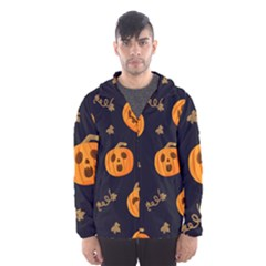 Funny Scary Black Orange Halloween Pumpkins Pattern Hooded Windbreaker (men)