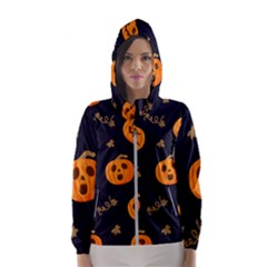 Funny Scary Black Orange Halloween Pumpkins Pattern Hooded Windbreaker (women)