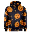 Funny Scary Black Orange Halloween Pumpkins Pattern Men s Pullover Hoodie View1