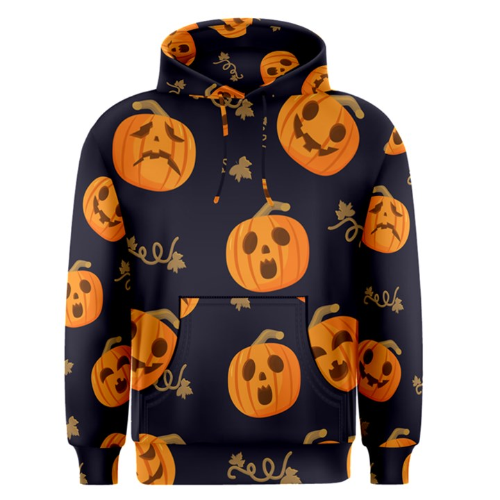 Funny Scary Black Orange Halloween Pumpkins Pattern Men s Pullover Hoodie