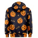 Funny Scary Black Orange Halloween Pumpkins Pattern Men s Pullover Hoodie View2