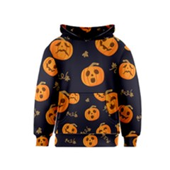 Funny Scary Black Orange Halloween Pumpkins Pattern Kids  Pullover Hoodie