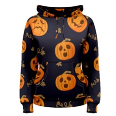Funny Scary Black Orange Halloween Pumpkins Pattern Women s Pullover Hoodie