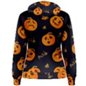 Funny Scary Black Orange Halloween Pumpkins Pattern Women s Pullover Hoodie View2