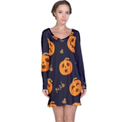 Funny Scary Black Orange Halloween Pumpkins Pattern Long Sleeve Nightdress by HalloweenParty