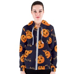 Funny Scary Black Orange Halloween Pumpkins Pattern Women s Zipper Hoodie