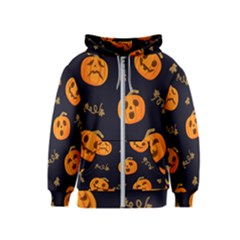 Funny Scary Black Orange Halloween Pumpkins Pattern Kids  Zipper Hoodie