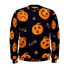 Funny Scary Black Orange Halloween Pumpkins Pattern Men s Sweatshirt