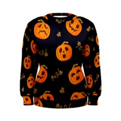 Funny Scary Black Orange Halloween Pumpkins Pattern Women s Sweatshirt