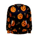 Funny Scary Black Orange Halloween Pumpkins Pattern Women s Sweatshirt View1